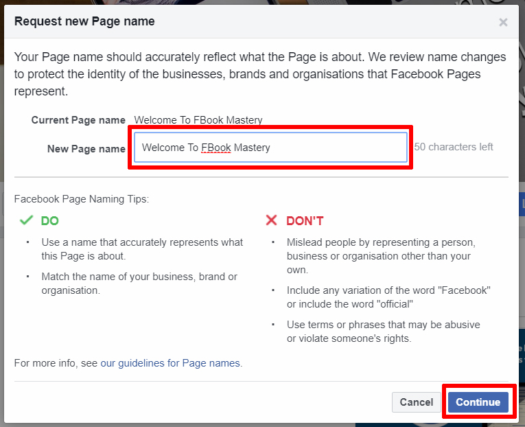 Facebook Page - How to Change FB Page Name - FB Mastery