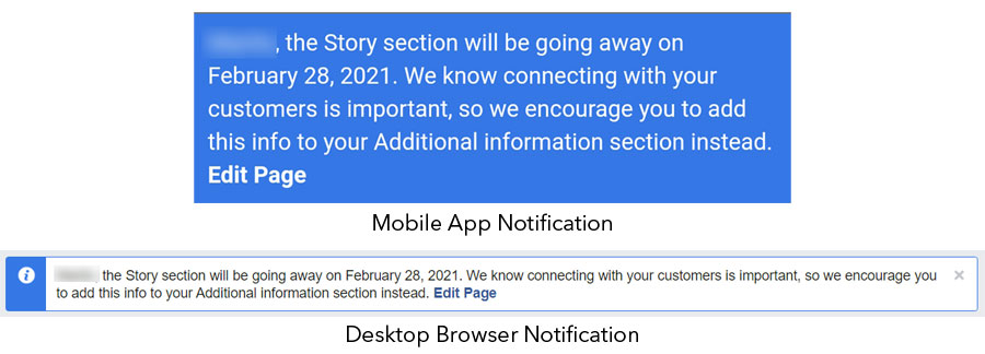 FBook Mastery - notification on Our Story removal