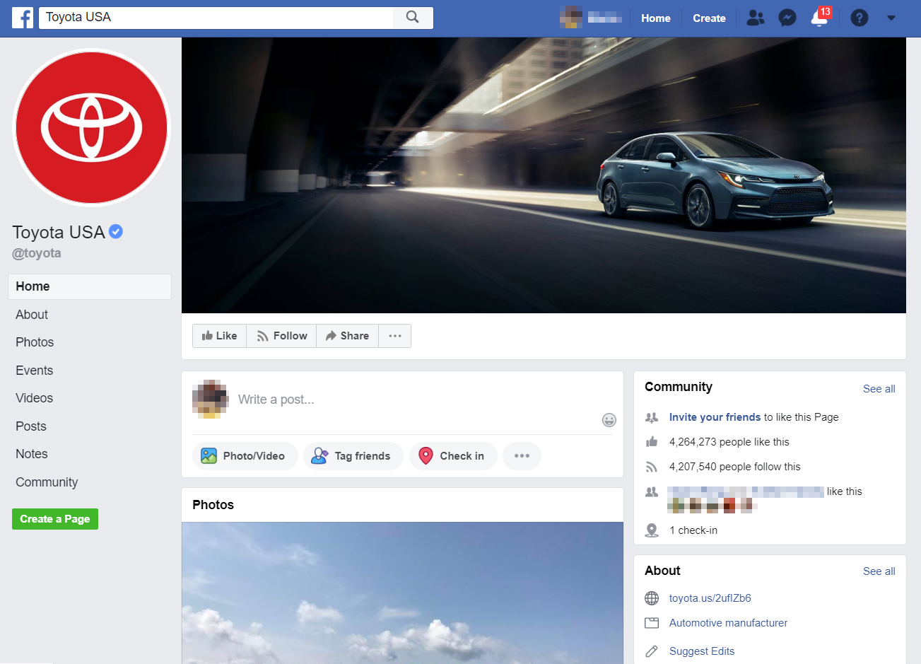 FBook Mastery - Toyota USA Facebook page
